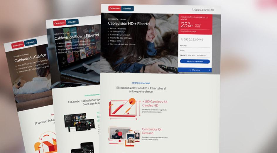Diseño Landing Pages Cablevisión Fibertel